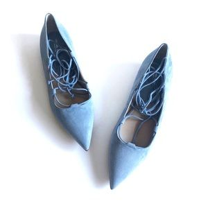 MK Collection Blue Suede Ankle Wrap Flats 39.5/9